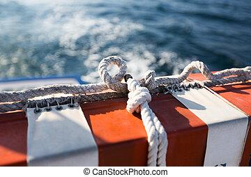 εξοπλισμός ασφαλείας , επάνω , ο , βάρκα