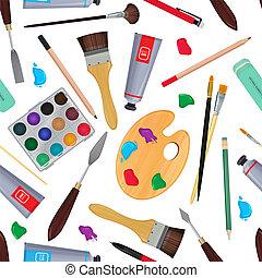 εξοπλισμός , για , artists., διαφορετικός , stationery., seamless, πρότυπο