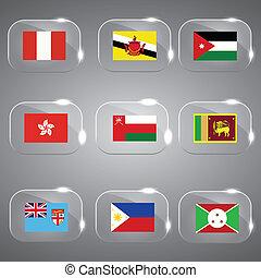 εξοχή , θέτω , σημαίες , γυαλί