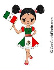 εξοχή , σημαία , εικόνα , μεξικό , κορίτσι , όμορφος