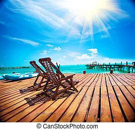 εξωτικός , caribbean , paradise., ταξιδεύω , τουρισμός , ή , άδεια , concept., θερμότατος ακρογιαλιά , θέρετρο