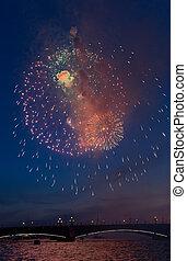 εορτασμόs , από , ο , νίκη , ημέρα , μέσα , ο , δεύτερος , κόσμοs , πολεμοs , μέσα , saint-petersburg, ρωσία , επάνω , ο , 9th , από , μπορώ , 2015, κοντά , peter's , και , παύλοs , καθεδρικόs ναόs , από , γραφικός , πυροτεχνήματα