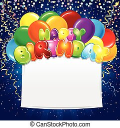 εορταστικός , γενέθλια , σημαία , με , χρωματιστόσ μπαλόνι