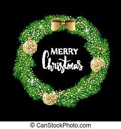 εορταστικός , διακοπές χριστουγέννων γιρλάντα , με , χρυσός , λαμπερός , αρχίδια , περιδέραιο , και , bow., χέρι , μετοχή του draw , γιορτή , lettering.