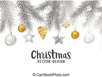 εορταστικός , χρυσός , και , ασημένια , xριστούγεννα , φόντο