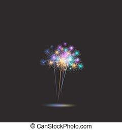 εορταστικός , χρώμα , πυροτέχνημα , φόντο. , μικροβιοφορέας , illustration.