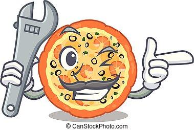 επάνω , θαλασσινά , πίνακας , μηχανικός , γελοιογραφία , πίτα με τομάτες και τυρί