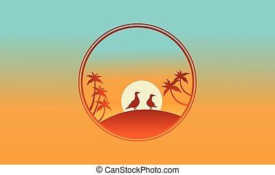 επάνω , ο , λόφος , πουλί , και , βάγιο , από , περίγραμμα