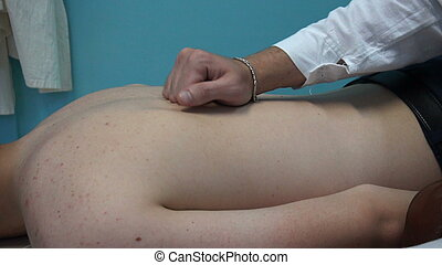 επάνω , υποδοχή , σε , ο , masseur., μασέρ , έργο , μασάζ , να , αυτήν , ασθενής