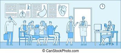 επαγγελματίες , αναμονή , γενική ιδέα , άνθρωποι , room., άσυλο ανιάτων ακάνθουρος , κλινική , γιατροί , ουρά , ανεκτικός , μικροβιοφορέας , interior., ιατρικός