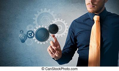 επεμβαίνω , επιχειρηματίας , cogwheels , κατ' ουσίαν καίτοι όχι πραγματικός