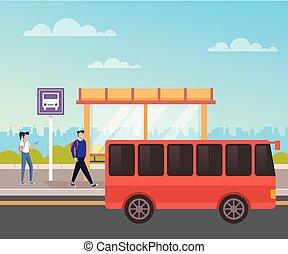 επιβάτης , γραφικός , μεταφορά , άνθρωποι , concept., διαμέρισμα , γελοιογραφία , αναμονή , μικροβιοφορέας , bus., εικόνα , σχεδιάζω , πόλη , αστικός