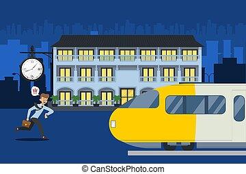 επιβάτης , χαρακτήρας , τρέξιμο , train., ρολόι , αποδεικνύω , τρένο , άντραs , μικροβιοφορέας , παρακολουθώ , αργά , παρουσιαστικό , αναχωρώ , illustration.