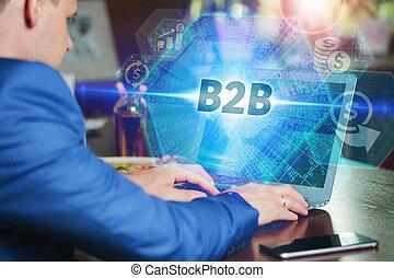 επιγραφή , δικός του , networking , τεχνολογία , εργαζόμενος , laptop , νέος , κατ' ουσίαν καίτοι όχι πραγματικός , επιχείρηση , b2b., επιχειρηματίας , μέλλον , internet , hologram., screen:, οθόνη , concept.