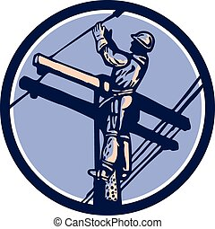 επιδιορθωτής τηλεφωνικών συρμάτων , δύναμη ακροδέκτης , retro , αναρρίχηση , repairman , κύκλοs