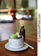 επιδόρπιο , γιαπωνέζοs , πάγοs , anmitsu, φασόλι , πράσινο ...