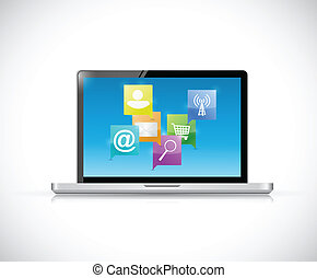 επικοινωνία , laptop , γενική ιδέα , δίκτυο , internet