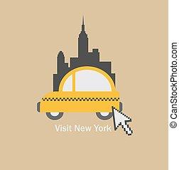 επιλέγω , πόλη , επισκέπτομαι , york , καινούργιος , ταξί