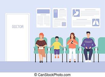 επισκέπτες , γραφικός , χαμογελαστά , μικροβιοφορέας , έδρα , νοσοκομείο , γιατρός , γραφείο , κάθονται , άνθρωποι , αναμονή , γελοιογραφία , άντραs , διαμέρισμα , γυναίκα , μοντέρνος , illustration., παιδί , clinic., διορισμός , γιατρός