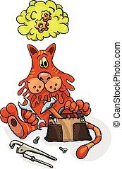 επισκευάζω , γάτα , εργαλεία , γελοιογραφία , χαρακτήρας