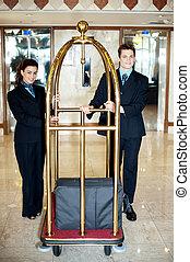 επιστάτης , αποσκευές , συνάδελφος , κράτημα , κάρο