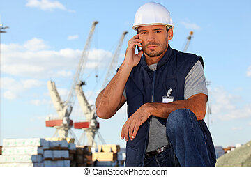 επιστάτης , επικοινωνώ , θέση , ραδιόφωνο , χρησιμοποιώνταs