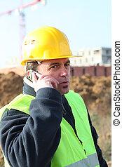 επιστάτης , με , ένα , cellphone