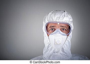 επιστήμονας , αναπνευστήρας , φορώ , προασπιστικός βάζω τζάμια