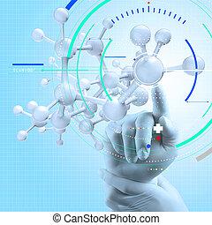 επιστήμονας , γιατρός , χέρι , άγγιγμα , κατ' ουσίαν καίτοι όχι πραγματικός , μοριακός διάρθρωση