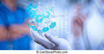 επιστήμονας , γιατρός , χέρι , αμπάρι , κατ' ουσίαν καίτοι όχι πραγματικός , μοριακός διάρθρωση , αναμμένος άρθρο εργαστήριο , επειδή , γενική ιδέα