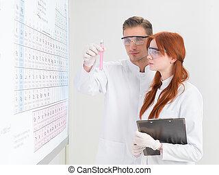 επιστήμονες , αναλύω , ένα , δοκιμαστικός σωλήνας