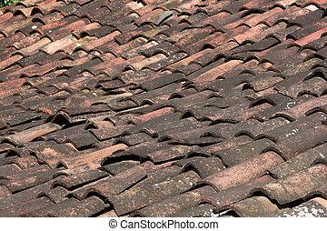 επιστρώνω με πλακάκια , γριά , τούβλο , οροφή