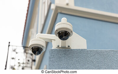 επιτήρηση , cctv , αξίες κάμερα , επάνω , ο , οροφή ,...