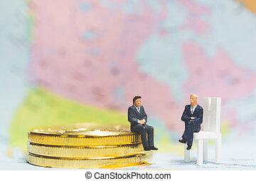 επιτυχία , επιχείρηση , concept., κέρματα , μινιατούρα , επιχειρηματίας , θημωνιά , people: