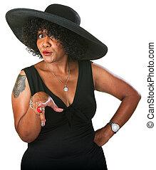 επιφυλακτικός , μαύρο γυναίκα