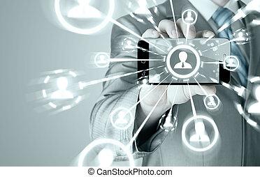 επιχείρηση , ανάμιξη αμπάρι , ένα , τηλέφωνο , δείχνω , ο , κοινωνικός , δίκτυο