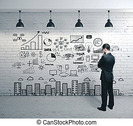 επιχείρηση , ατενίζω , ζωγραφική , δραμάτιο , επιχειρηματίας