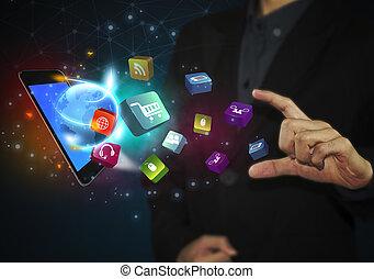 επιχείρηση , δισκίο , απεικόνιση , μέσα ενημέρωσης , concept., κοινωνικός , χέρι , αφορών , επικοινωνία
