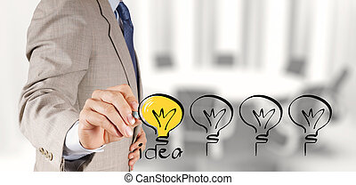 επιχείρηση , ζωγραφική , conce , στρατηγική , δημιουργικός , βολβός , ελαφρείς , χέρι