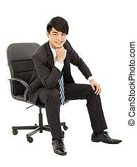 επιχείρηση , κάθονται , νέος , καρέκλα , κομψός , άντραs