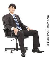 επιχείρηση , κάθονται , νέος , καρέκλα , ωραία , άντραs