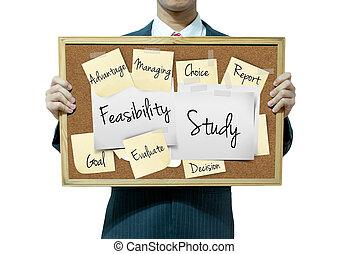 επιχείρηση , μελέτη , feasibility, φόντο , πίνακας , κράτημα , άντραs