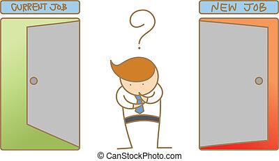 επιχείρηση , σκεπτόμενος , χαρακτήρας , γελοιογραφία , τρέχων , δουλειά , καινούργιος , ή , αλλαγή , άντραs