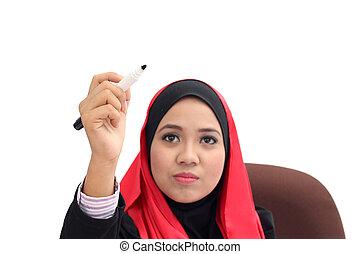 επιχείρηση , excuctive, σκηνή , ισλαμικός , hijab , παρουσίαση