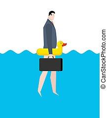 επιχείρηση , inflatable , duck., διακοπές , διαχειριστής , sea., επιχειρηματίας , ταξιδεύω