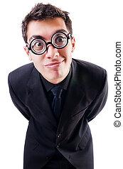 επιχειρηματίας , άσπρο , απομονωμένος , nerd