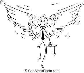 επιχειρηματίας , γελοιογραφία , άγγελος διακριτικό σήμα ιπταμένου