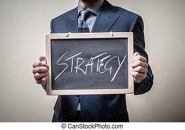 επιχειρηματίας , γραμμένος , μαυροπίνακας , κράτημα , στρατηγική