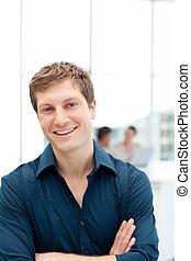 επιχειρηματίας , δικός του , γραφείο , ευτυχισμένος