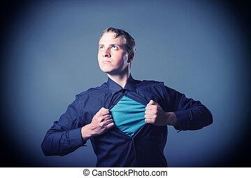 επιχειρηματίας , εκδήλωση , ένα , superhero , κουστούμι ,...